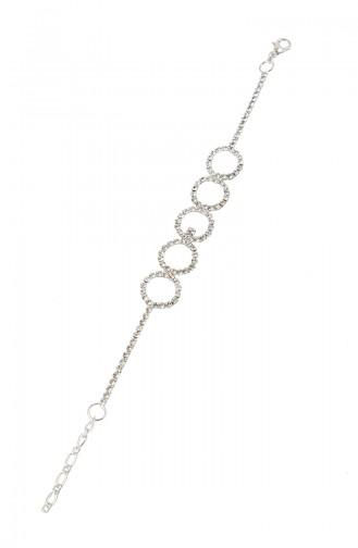Gümüş Kaplama Kristal Taşlı Bileklik 08-0403-48-10-01 Gümüş