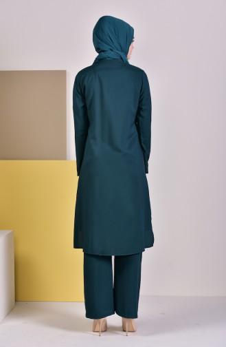 Ensemble Deux Pieces Tunique Pantalon 1197-02 Vert emeraude 1197-02