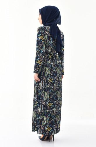 Desenli Pileli Elbise 1011-01 Lacivert Sarı 1011-01