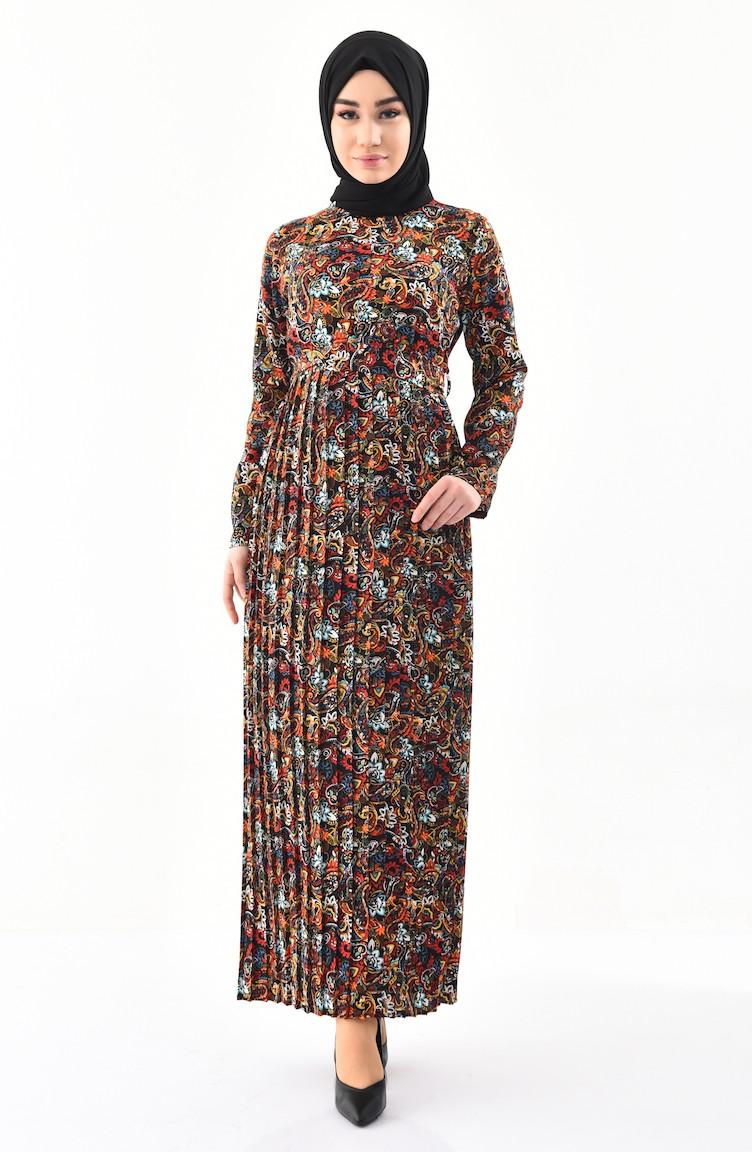 fe8455b643786 Desenli Pileli Elbise 1012-01 Siyah Sarı