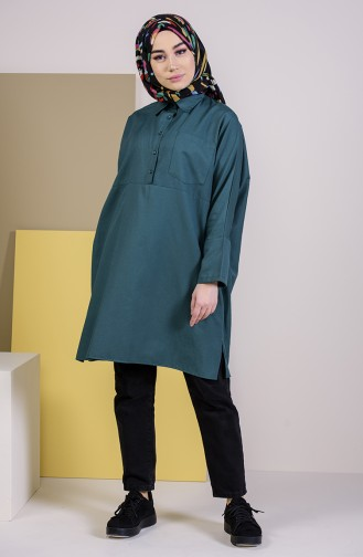 W.B Slit Pocketed Tunic 6352-11 Emerald Green 6352-11