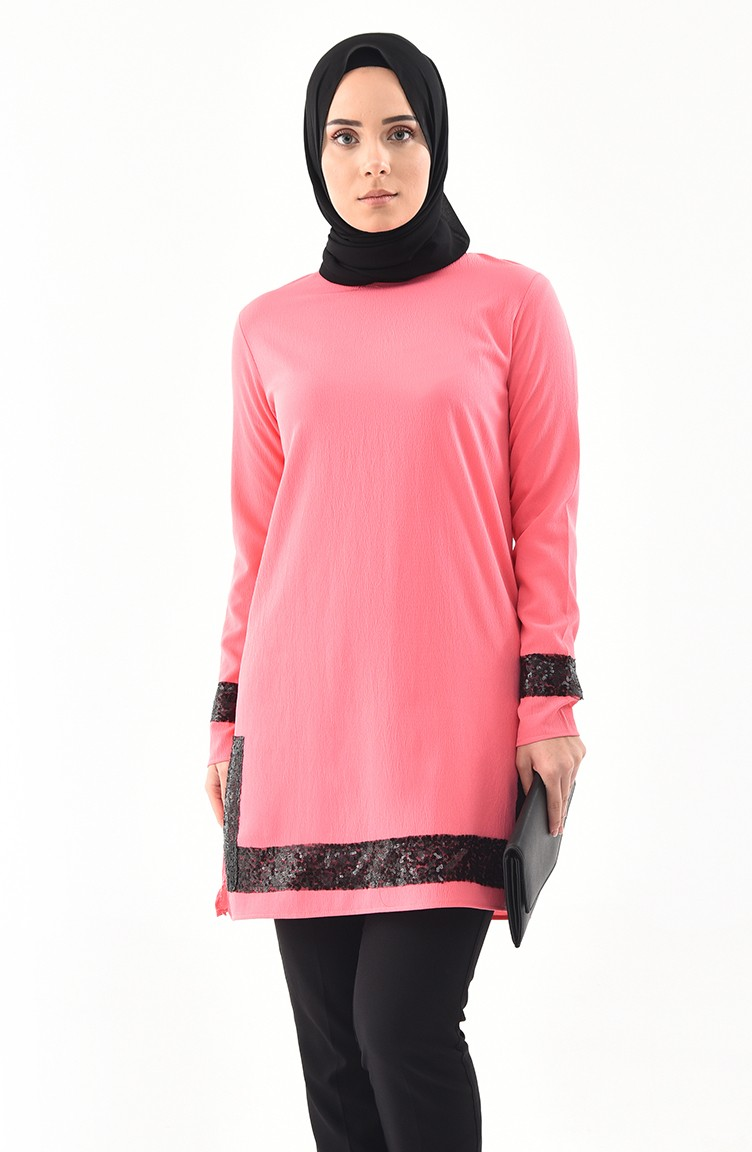 1eced501159 Sequined Tunic 9018-02 Pink 9018-02