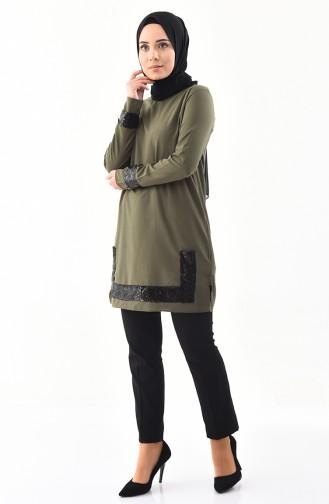 Sequined Tunic  9018-06 Khaki 9018-06