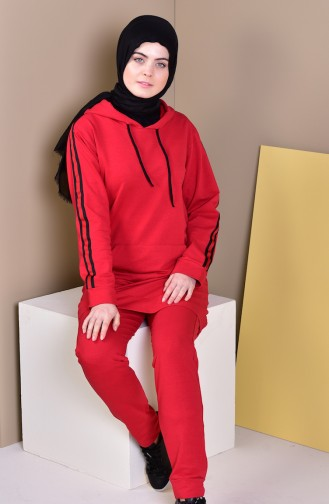 Kapüşonlu Eşofman Takım 19012-05 Kırmızı 19012-05