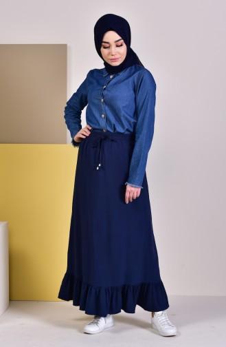 Waist Elastic Frilly Skirt 1118-01 Navy Blue 1118-01
