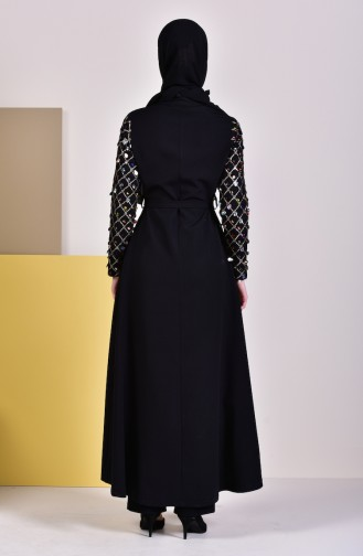 Abaya a Ceinture 8860-01 Noir 8860-01