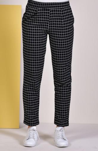Kareli Düz Paça Pantolon 1001-01 Siyah 1001-01
