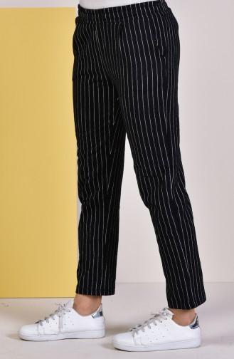 Çizgili Düz Paça Pantolon 1011-01 Siyah