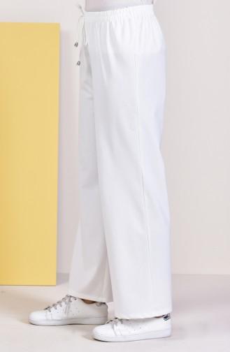 Pantalon Large élastique 2069A-01 Ecru 2069A-01