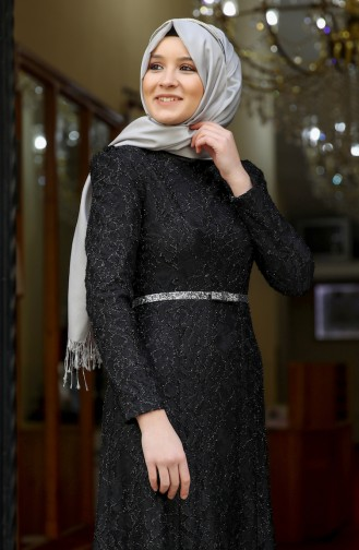 Lace Overlay Evening Dress 3206-05 Black 3206-05