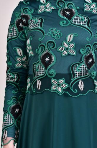 Robe de Soirée a Dentelle 8537-01 Vert emeraude 8537-01