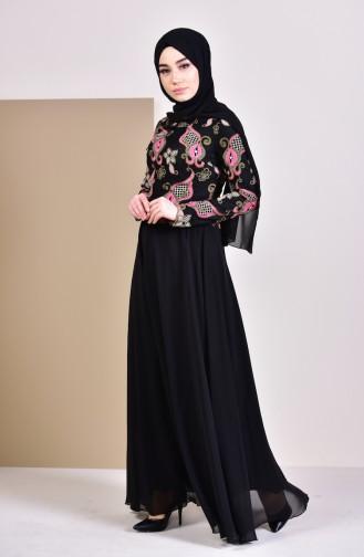 Dantelli Abiye Elbise 8537-02 Siyah