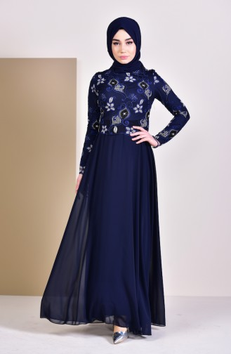 Lace Evening Dress 8537-03 Navy 8537-03
