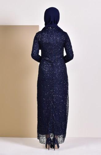 Sequin Evening Dress 4114-01 Navy 4114-01