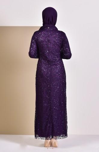 فستان بتفاصيل من الترتر 4114-05 لون بنفسجي 4114-05