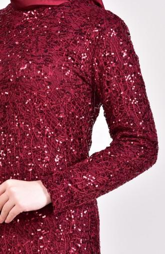 Sequin Evening Dress 4114-06 Bordeaux 4114-06