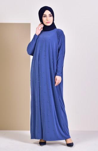 İncili Yarasa Kol Elbise 16451-03 İndigo 16451-03