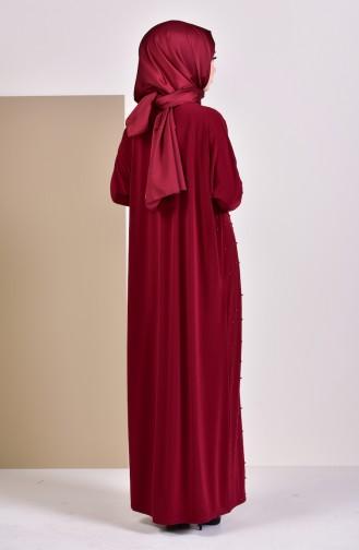 İncili Yarasa Kol Elbise 16451-06 Bordo