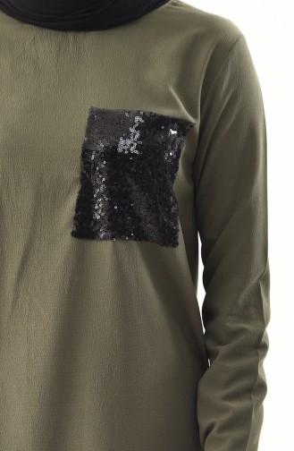Sequined Tunic  9019-01 Khaki 9019-01
