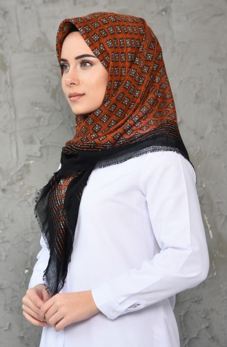 Petekli Dokuma Cotton Eşarp 2200-10 Siyah Turuncu 2200-10