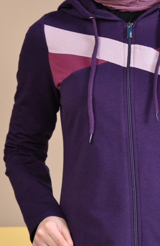 عباءة رياضية بتصميم موصول بقبعة 8337-05 لون بنفسجي 8337-05