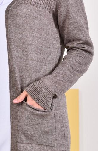ايلميك كارديجان بتفاصيل جيوب 4129-02 لون بني مائل للرمادي داكن 4129-02