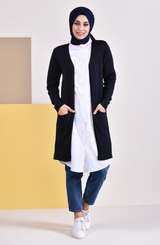 iLMEK Seasonal Pocketed Cardigan 4129-04 Navy Blue 4129-04