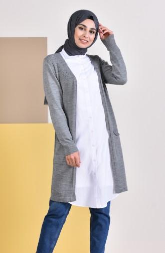 iLMEK Seasonal Pocketed Cardigan 4129-05 Gray 4129-05