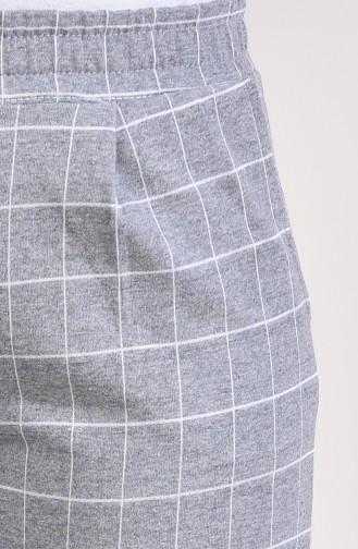 Checkered Straight Leg Pants 1002-02 Gray 1002-02