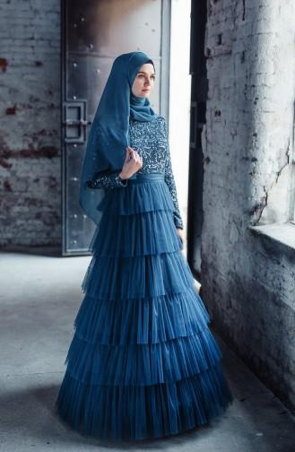 فساتين سهرة بتصميم اسلامي أزرق زيتي 52735-06