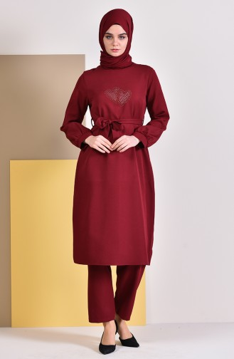 Stone Printed Tunic Pants Binary Suit 3016-03 Claret Red 3016-03
