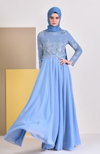 Dantelli Abiye Elbise 8890-02 Mavi