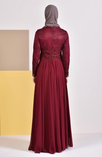MISS VALLE  Lace Evening Dress 8890-03 Bordeaux 8890-03