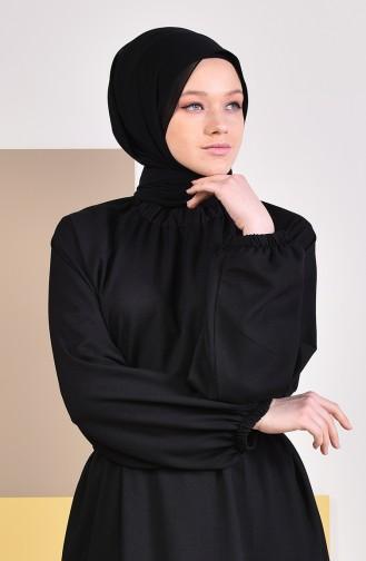 Kleid mit Gummi 2056-04 Schwarz 2056-04
