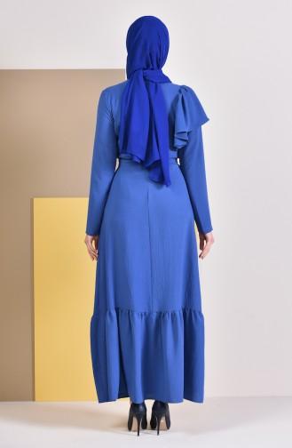 فستان بتصميم طيات وحزام للخصر 1926-02 لون نيلي 1926-02