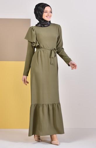 Gefälteltes Kleid mit Band 1926-06 Khaki 1926-06