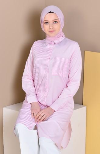 MIHRISAH Striped Pocket Tunic 2472-04 Pink 2472-04