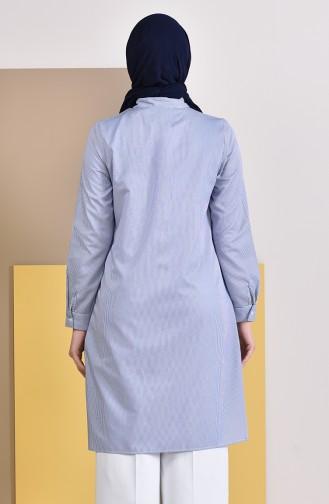 MIHRISAH Striped Pocket Tunic 2472-05 Blue 2472-05