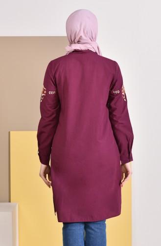 Embroidered Sleeve Tunic 8225-02 Plum 8225-02