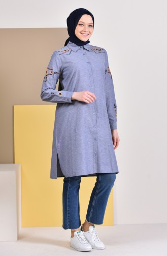 Embroidered Sleeve Tunic 8225-07 Gray Navy Blue 8225-07