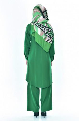 Asymmetric Tunic Pants Double Suit2315-04 Emerald Green 2315-04