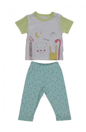 Bebetto Cotton Short Sleeve Pajama Set F1017 Mint Green 1017
