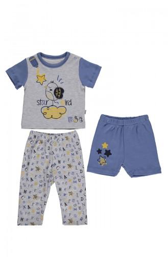 Penye Pijama Takımı 3 lü F1020-02 Mavi 1020-02