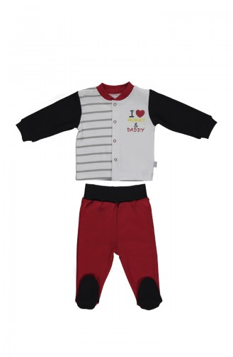 Bebetto Cotton Footed Pajama Set F989 Red 989