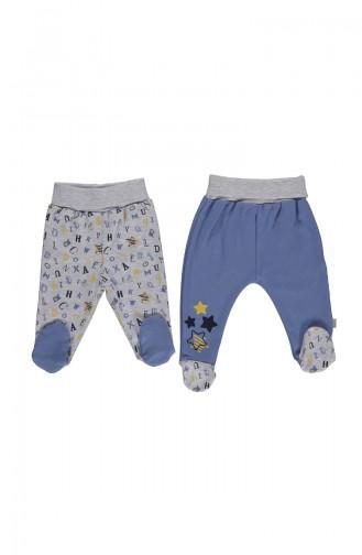 2 Pantalons Bébé T1776-02 Bleu 1776-02