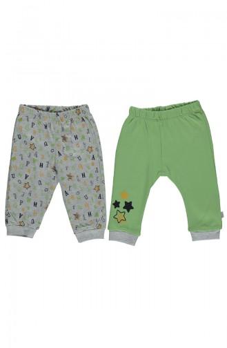 ببيتو طقم بنطال أطفال بتصميم قطن عدد اثنان T1777-01 لون أخضر 1777-01