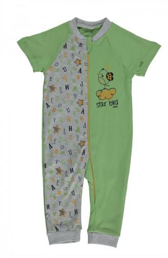 ببيتو افرول أطفال قطن بتصميم أكمام قصيرة T1778-02 لون أخضر 1778-02