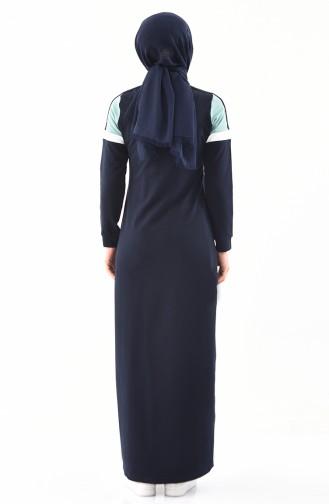 Striped Sports Abaya 8349-02 Navy Blue 8349-02
