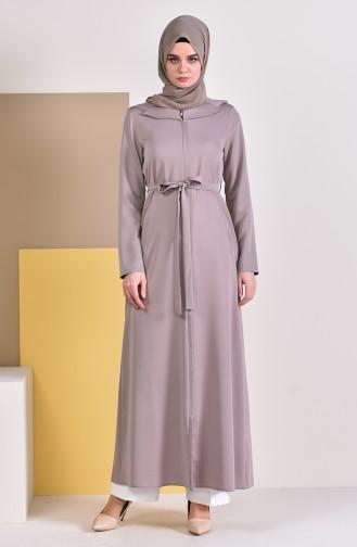 Abaya a Fermeture et Ceinture 5923-04 Beige 5923-04