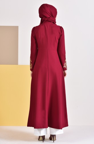 Gold Printed Zippered Abaya  4117-06 Claret Red 4117-06